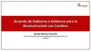 Acuerdo de Gobierno a Gobierno para la Reconstruccin