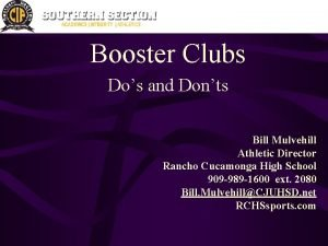 Booster Clubs Dos and Donts Bill Mulvehill Athletic