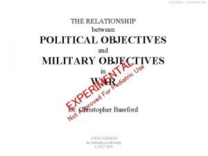 C BASSFORD CLAUSEWITZ COM THE RELATIONSHIP between POLITICAL