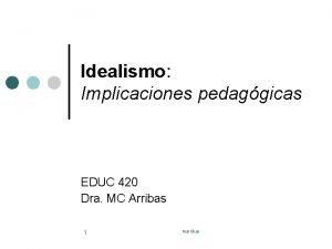 Idealismo Implicaciones pedaggicas EDUC 420 Dra MC Arribas