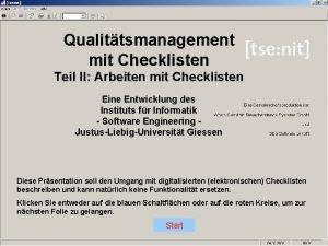 Qualittsmanagement mit Checklisten Teil II Arbeiten mit Checklisten