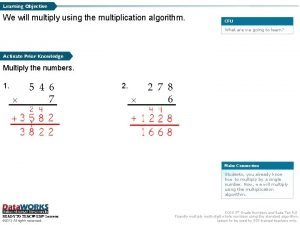 Learning Objective We will multiply using the multiplication