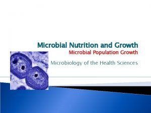 Microbial Nutrition and Growth Microbial Population Growth Microbiology