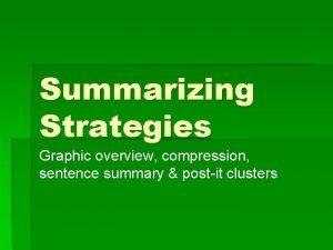 Summarizing Strategies Graphic overview compression sentence summary postit