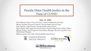 Florida Elder Health Justice in the Time of