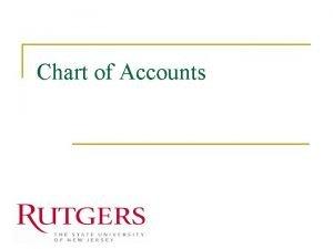 Chart of Accounts Chart of Accounts n n