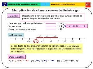 Tema 3 1 Multiplicacin de nmeros enteros Nmeros