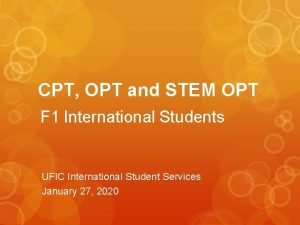 CPT OPT and STEM OPT F 1 International