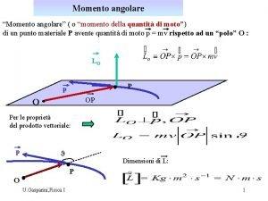 Momento angolare Momento angolare o momento della quantit