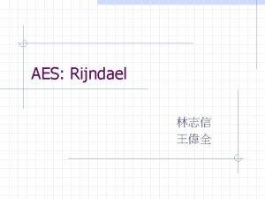 AES Rijndael Outline Introduction Mathematical background Specification Motivation