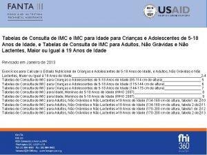 Tabelas de Consulta de IMC para Idade para