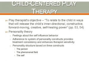 CHILDCENTERED PLAY THERAPY Play therapists objective To relate