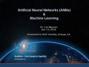 Artificial Neural Networks ANNs Machine Learning Dr Lan