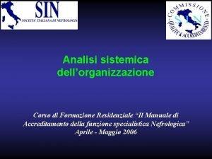 Analisi sistemica dellorganizzazione Corso di Formazione Residenziale Il