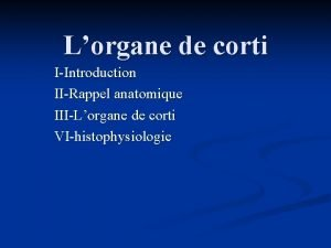 Lorgane de corti IIntroduction IIRappel anatomique IIILorgane de