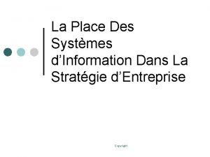 La Place Des Systmes dInformation Dans La Stratgie