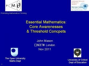 Promoting Mathematical Thinking Essential Mathematics Core Awarenesses Threshold