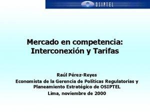 Mercado en competencia Interconexin y Tarifas Ral PrezReyes