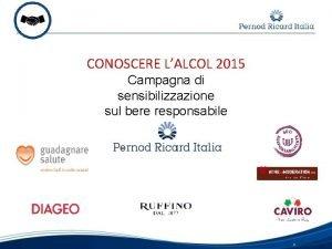 CONOSCERE LALCOL 2015 Campagna di sensibilizzazione sul bere