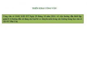 TRIN KHAI CNG VN Cng vn s 1040