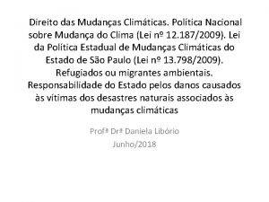 Direito das Mudanas Climticas Poltica Nacional sobre Mudana