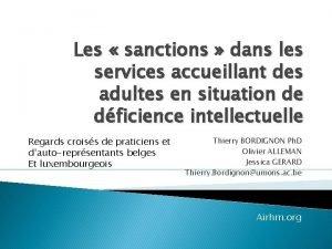 Les sanctions dans les services accueillant des adultes
