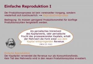 Einfache Reproduktion I Der Produktionsprozess ist kein vereinzelter