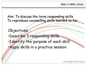 NGf L CYMRU GCa D Aim To discuss