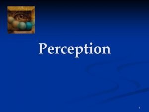Perception 1 Perception The process of selecting organizing