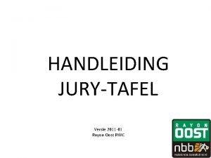 HANDLEIDING JURYTAFEL Versie 2011 01 Rayon Oost RWC