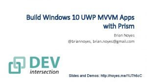 Build Windows 10 UWP MVVM Apps with Prism