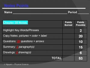 Notes Points Name Period Points Earned Chapter 30