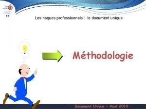 Les risques professionnels le document unique Mthodologie Document