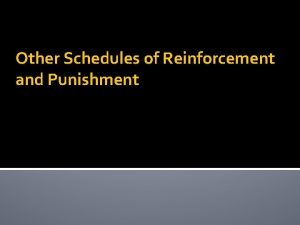 Other Schedules of Reinforcement and Punishment Differential Schedules