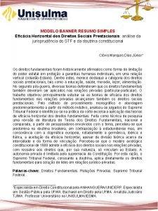 MODELO BANNER RESUMO SIMPLES Eficcia Horizontal dos Direitos