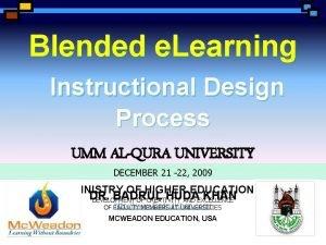Blended e Learning Instructional Design Process UMM ALQURA
