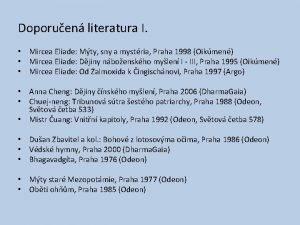 Doporuen literatura I Mircea Eliade Mty sny a