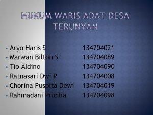 Aryo Haris S Marwan Bilton S Tio Aldino