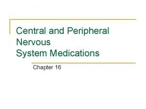 Central and Peripheral Nervous System Medications Chapter 16