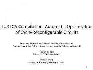 EURECA Compilation Automatic Optimisation of CycleReconfigurable Circuits Xinyu