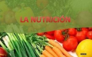 LA NUTRICIN LA NUTRICION Es la ciencia encargada