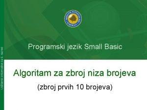 Udbenik informatike za 6 razred Programski jezik Small