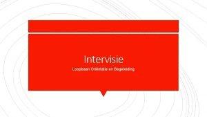 Intervisie Loopbaan Orintatie en Begeleiding Intervisie iedere 7