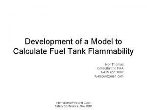 Development of a Model to Calculate Fuel Tank