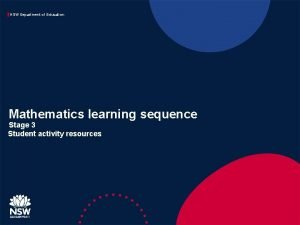 NSW Department of Education Mathematics learning sequence Stage