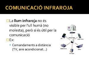 COMUNICACI INFRAROJA La llum infraroja no s visible