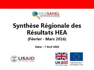 Synthse Rgionale des Rsultats HEA Fvrier Mars 2016