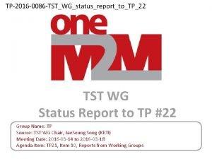 TP2016 0086 TSTWGstatusreporttoTP22 TST WG Status Report to