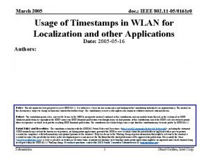 March 2005 doc IEEE 802 11 050161 r