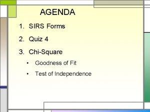 AGENDA 1 SIRS Forms 2 Quiz 4 3
